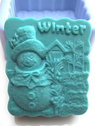 pupazzo di neve inverno strumenti shaoed torta al cioccolato fondente silicone torta muffa decorazione, l8.1cm * w7.3cm * h4cm