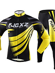 cheap -FJQXZ Men's Long Sleeves Cycling Jersey with Tights - Yellow Bike Tights Jersey Clothing Suits, Quick Dry, Ultraviolet Resistant,
