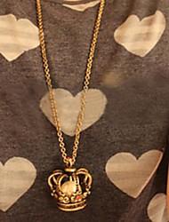 diamante coroa de pérolas colar de corrente camisola retro das mulheres