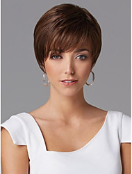 cheap -Capless Short Brown Wavy 100% Human Hair Wigs