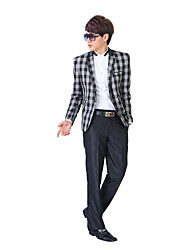 Black&Gray Gingham Slim Fit Tuxedo In Polyester