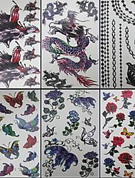 6 pezzi farfalla e misti drago tatuaggio temporaneo