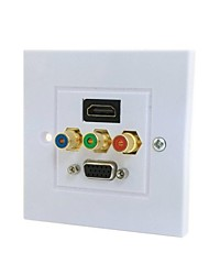 HDMI & VGA & 3RCA Ypbpr Component AV Audio Video Wall Face Plate Panel 86mm Square Type