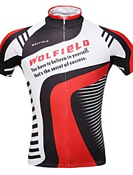 WOLFBIKE Cycling Jersey Men's Short Sleeves Bike Jersey Top Quick Dry Front Zipper Breathable Lightweight Materials Back Pocket