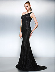 cheap -Sheath / Column One Shoulder Court Train Lace Formal Evening Dress with Beading by TS Couture®