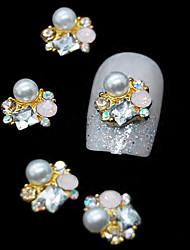 10pcs dorato 3d strass perla fiore diy accessori in lega nail art decorazione