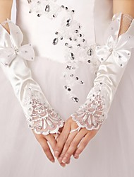 elastický satén prstů svatební rukavice s lukem s krajkou trim s kamínky