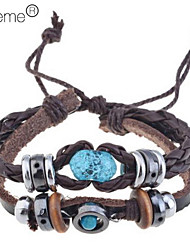 cheap -Vintage Amber Beads Leather Bracelet Classical Feminine Style