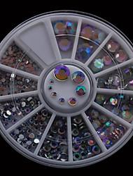 300pcs 1,5 millimetri 6,0 millimetri-mix dimensioni ab trapano acrilico chiodo diy decorazione di arte strass Ruota nail