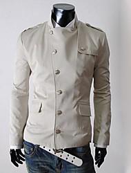 Недорогие -Мужской Смесь хлопка Куртка На каждый день,Однотонный,Длинный рукав,Черный / Бежевый / Серый
