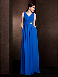 Sheath / Column V-neck Floor Length Chiffon Bridesmaid Dress with Pockets Sash / Ribbon Crystal Brooch by LAN TING BRIDE®