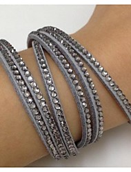handmade velvet bracelets with bling wrap leather bracelets hot drill bangle for girl/women gift