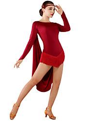 Dança Latina Vestidos Mulheres Seda tecida com Cetim