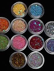 billige -12 pcs Glitter Negle Smykker Smuk Negle kunst Manicure Pedicure Daglig Frugt / Blomst / Abstrakt / Tegneserie / Negle smykker / Punk