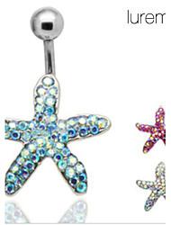 lureme®silver plaqué perçage strass étoiles de mer nombril / oreille en acier inoxydable (couleur aléatoire)