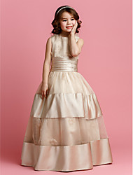 cheap -Ball Gown Floor Length Flower Girl Dress - Organza / Satin Sleeveless Jewel Neck with Beading / Sash / Ribbon / Ruched by LAN TING BRIDE® / Spring / Summer / Fall