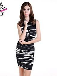 cheap -Women's Work Above Knee Dress, Animal Print Sleeveless