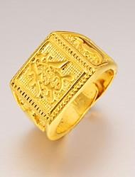 Maxi anel Chapeado Dourado 24K Plated Gold Jóias Original Moda Jóias Casamento Festa Diário Casual Esportes 1peça