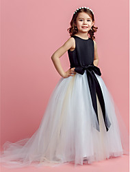 cheap -Ball Gown Sweep / Brush Train Flower Girl Dress - Satin / Tulle Sleeveless Jewel Neck with Bow(s) / Sash / Ribbon by LAN TING BRIDE®