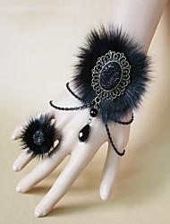 steampunk®gothic pele de raposa negra halloween pulseira& anel