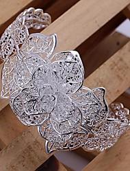 trois couches de fleurs en argent plaqué bracelet
