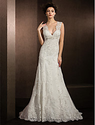cheap -Sheath / Column V Neck Court Train All Over Lace Made-To-Measure Wedding Dresses with Beading / Sequin / Appliques by LAN TING BRIDE®