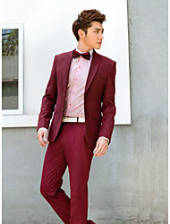 Burgundy Solid Slim Fit Tuxedo In Polyester