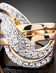 Statement Rings Cubic Zirconia Gold Plated Simulated Diamond 24K Plated Gold Alloy Fashion Screen Color Jewelry Party 1pc