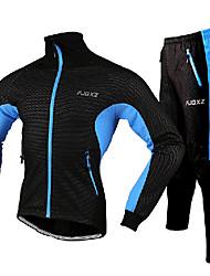 FJQXZ Maglia con pantaloni da ciclismo Per uomo Manica lunga Bicicletta Giacca di pelle Calze/Collant/Cosciali Set di vestiti Tenere al
