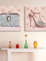E-HOME® Stretched LED Canvas Print Art High Heeled Shoes And Bag Flash effect LED Set of 2