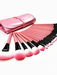 cheap -hot pink professional 32pcs cosmetic makeup brush brushes set kit tool super soft pouch bag case