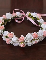cheap -Satin Rubber Flowers Headwear Wreaths with Floral 1pc Wedding Special Occasion Outdoor Headpiece