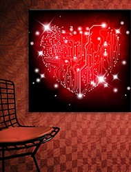 E-HOME® Stretched LED Canvas Print Art Red Love Flash Effect LED Flashing Optical Fiber Print