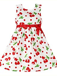 cheap -Girl's Fashion Cherry Print Cotton Sundress Baby Kids Clothing Party Birthday Casual Dresses