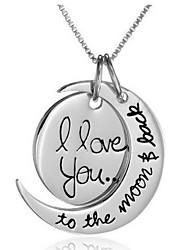 Недорогие -Ожерелья с подвесками С гравировкой Полумесяц я бесконечно люблю тебя Дамы Сплав Серебряный Золотой Ожерелье Бижутерия Назначение Повседневные