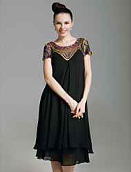 cheap -Sheath / Column Scoop Neck Knee Length Chiffon Holiday Dress with Beading by TS Couture®