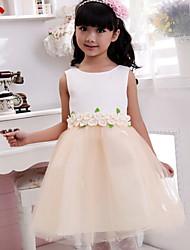Ball Gown Tea Length Flower Girl Dress - Cotton Sleeveless Jewel Neck with Applique