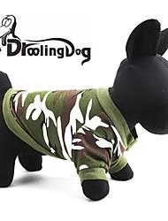 baratos -Gato Cachorro Camisola com Capuz Roupas para Cães camuflagem Vermelho Verde Algodão Ocasiões Especiais Para animais de estimação