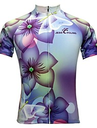 JESOCYCLING Cycling Jersey Women's Short Sleeves Bike Jersey Tops Quick Dry Moisture Permeability Breathable Back Pocket Sweat-wicking