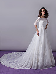 cheap -A-Line Princess Off-the-shoulder Cathedral Train Lace Wedding Dress with Appliques Lace by LAN TING BRIDE®