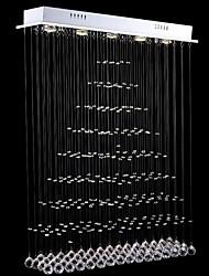 baratos -pingente de luz levou 5 luzes moderno canpoy prata luminárias de cristal transparente