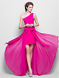 Sheath / Column One Shoulder Floor Length Chiffon Bridesmaid Dress with Bow(s) by LAN TING BRIDE®