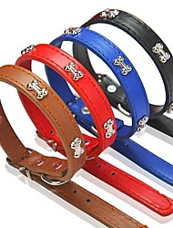 cheap -Dog Collar Adjustable / Retractable PU Leather Black Brown Red Blue
