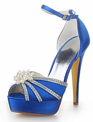 Women's Summer Satin Wedding Stiletto Heel Pearl Black Blue Yellow Pink Purple Red Ivory White Silver Champagne