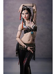 cheap -Belly Dance Tops Women's Performance Cotton Metal Copper Coins Buttons