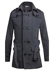 Недорогие -Мужской Однотонный Пальто,На каждый день,Хлопок / Смесь хлопка,Длинный рукав-Черный / Серый