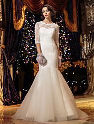 A sirena Scollo a Illusione Strascico a terra Di pizzo Vestito da sposa con Bottoni di LAN TING BRIDE®