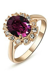 cheap -18K Rose Gold Plated Emerald Purple Crystal Ring Elegant Jewelry CZ Diamond Austrian Crystal Stellux