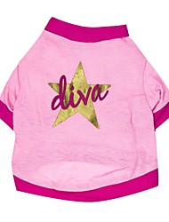 cheap -Cat Dog Shirt / T-Shirt Dog Clothes Stars Pink Cotton Costume For Pets
