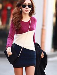 Mode lange Hülse dünnes Kleid der Frauen